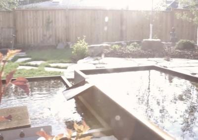waterfall feature in backyard area