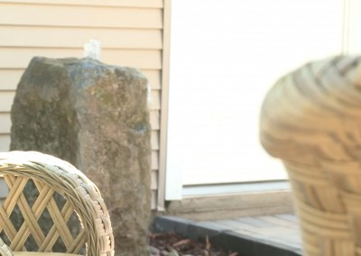 decorative stone in a backyard