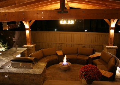 patio sitting area at night