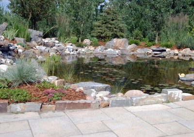 landscape water and stone pond with pathway