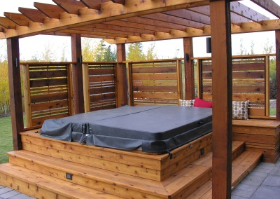 calgary landscape wood design with hottub